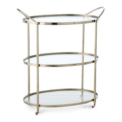 Connaught Bar Cart - Polished Nickel - Wide handles complement the curved ends of the Connaught Bar Cart, an elegant addition that expands the utility of small apartment dining rooms and, in homes of any size, makes serving appetizers or multiple courses at the table easy for the host.  Fluted edges add a tailored air to this polished nickel and glass three-tier serving cart, making it decorative as well as practical.
