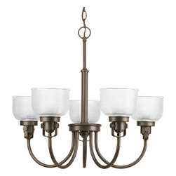 Progress Lighting - Progress Lighting P4689-74 Archie Five-Light Venetian Bronze Chandelier Clear Ha - Archie Collection five-light chandelier is a standout in any room! Provide a fun and fashionable way to light your home with finely crafted strap and knob details, clear double prismatic glass, and painted Venetian Bronze finish.The authentic, prismatic style glass shade diffuses light to provide functional and stylish illumination. Available coordinating fixtures in this collection include wall and ceiling styles.