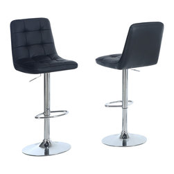 Monarch Specialties - Monarch Specialties 2354 Hydraulic Lift Barstool in Black and Chrome (Set of 2) - Choose this contemporary two piece bar stool set for a stylish look perfect for get-togethers and sleek dining. The chrome finished metal pedestal base features a hydraulic lift to adjust the seat height and a footrest for added comfort. The black seat with a padded straight line roll back and seat design makes this barstool comfortable and visually appealing.