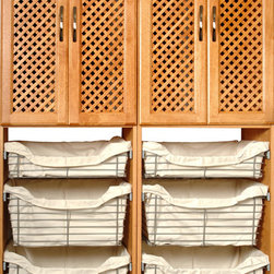 Closet Systems - Solid Wood - Maple Spice - Metal Baskets by Solid Wood Closets - Closet System made with 100-percent Solid Wood, and finished in Maple Spice.  Metal Baskets with cream lining adds functionality and storage space.