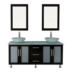 """JWH Imports - 59"""" Double Lune Large Glass Vessel Sink Modern Bathroom Vanity with Glass Top - The epitome of form meets function, this contemporary double vanity boasts two sinks, two generously sized cabinets with frosted glass doors, and a middle panel of three sliding, soft-close drawers. Aesthetically stunning yet oh-so-practical, this bathroom vanity is an exquisite addition to your powder room with storage options aplenty."""