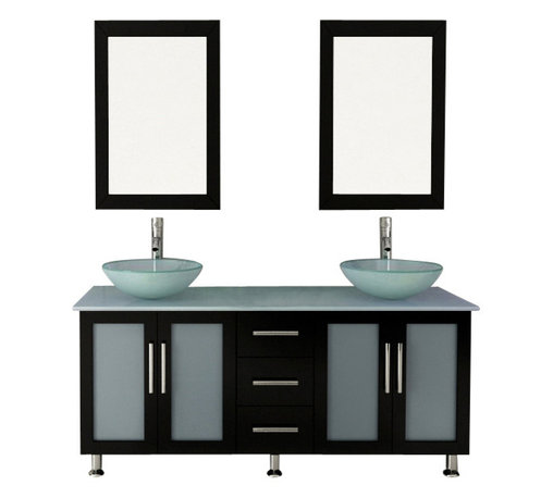 "JWH Imports - 59"" Double Lune Large Glass Vessel Sink Modern Bathroom Vanity with Glass Top - The epitome of form meets function, this contemporary double vanity boasts two sinks, two generously sized cabinets with frosted glass doors, and a middle panel of three sliding, soft-close drawers. Aesthetically stunning yet oh-so-practical, this bathroom vanity is an exquisite addition to your powder room with storage options aplenty."