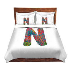 DiaNoche Designs - Duvet Cover Microfiber King from DiaNoche Designs by Dora Ficher - Letter N - DiaNoche Designs works with artists from around the world to bring unique, artistic products to decorate all aspects of your home.  Super lightweight and extremely soft Premium Microfiber Duvet Cover (only) in sizes Twin, Queen, King.  Shams NOT included.  This duvet is designed to wash upon arrival for maximum softness.   Each duvet starts by looming the fabric and cutting to the size ordered.  The Image is printed and your Duvet Cover is meticulously sewn together with ties in each corner and a hidden zip closure.  All in the USA!!  Poly microfiber top and underside.  Dye Sublimation printing permanently adheres the ink to the material for long life and durability.  Machine Washable cold with light detergent and dry on low.  Product may vary slightly from image.  Shams not included.