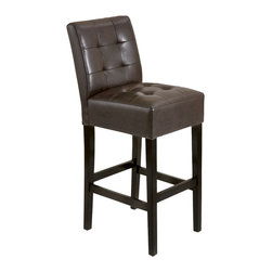 Great Deal Furniture - Bronson Leather Stools (Set of 2), Espresso Counter Height - Add comfort to your home with our Bronson Leather Stools. With its soft bonded leather and well padded seat, this furniture makes an ideal seat for any get together. Built from solid hardwood with espresso stained legs, our Bronson stools are built to last for years to come.