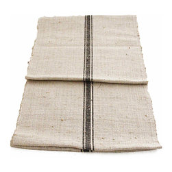 Linen Table Runner Textile - A wonderful heavy homespun hemp Linen runner to be used either on a table or floor. A rustic nubby coarse texture with a rich black center triple stripe.