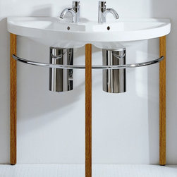 Whitehaus - China Large U-Shaped Double Bowl Console Basi - Includes natural wood leg supports, polished chrome towel rails and chrome overflows. Faucet not included. Single hole faucet drilling per basin only. Made from porcelain. White and natural color. Inside: 22 in. W x 11 in. D x 5 in. H. Overall: 38 in. W x 19 in. D x 34 in. H (45 lbs.). Warranty