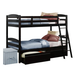 Homelegance - Homelegance Meyer Twin over Twin Bunk Bed with Underbed Storage Box - Bunk beds provide the ultimate function in space saving bedroom arrangements. The Exuberance collection's espresso finish blends effortlessly into a multitude of children's room designs. The bunk is ready to assemble and features coordinating ladder and under bunk storage drawers. Whether sharing a bedroom with their siblings or just having the extra space for their best friend, children of all ages will clamor for the top bunk! Storage boxes (two per package) are included.