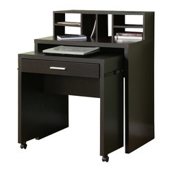 Monarch Specialties - Monarch Specialties Spacesaver Desk with Open Storage - This versatile space saver desk offers an ideal computer workstation for your home. This hollow-core piece is great for smaller homes or rooms, helping you make the most of your space. The pull-out desk on casters is perfect for your laptop and the built in drawer can be used for storing office supplies. The middle shelf is a great place to keep papers and books organized, while the top hutch contains six compartments for more space. This cool computer desk will be a welcome addition to your home with its solid hardwood and veneer construction wrapped in a deep cappuccino finish, and straight, panels legs. What's included: Computer Desk (1).