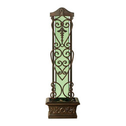 BluWorld of Water - Copper Falls Water Trellis Fountain - This antique style seventy five inch floor fountain is suitable for both indoor or outdoor use and has a quiet style pump. The fountain has iron style antique accents and a green glass back. The fountain offers the soothing sounds of water and is made of fiber reinforced polymer. Quiet Submersible pump. Polished river rocks. Green glass. Made of Aluminum and FRP (Fiber Reinforced Polymer). Green glass surface and antique Copper frame. Suitable for indoor and outdoor use. Minimal assembly required. 22 in. W x 16 in. D x 76 in. H