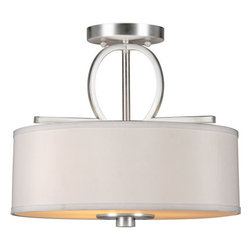 Forte Lighting - Forte Lighting 2562-03 3 Light Semi-Flush Ceiling Fixture with Fabric Drum Shade - Three Light Semi-Flush Ceiling Fixture with Fabric Drum ShadeAccent your home d�cor with this fabulous ceiling fixture. Features a fabric drum shade.Features: