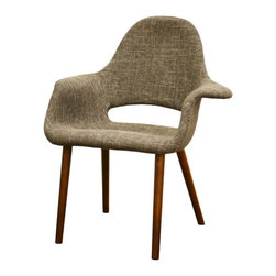 Baxton Studio - Baxton Studio Forza Taupe Twill Mid-Century Style Accent Chair (Set of 2) - The style of decades past serves as inspiration for this versatile classic accent chair. It features a supportive high back, arms, as well as light foam padding under the multi-hued tan and beige twill fabric. A wooden frame and legs (medium brown stain) serve as the basis for construction. Assembly is required.