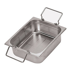 Paderno World Cuisine - 20 7/8 in. by 12 3/4 in. Stainless-steel Perforated Hotel Pan with Folding - This 20 7/8 in.  by 12 3/4 in.  stainless-steel perforated hotel food pan with folding handles is a standard size which fits into universal racks, heating elements and walk-in coolers. This standard was intended to rationalize the working processes in food industry operations by creating a high level of compatibility of kitchen equipment. All inserts are stackable and have rounded reinforced edges. They are made of 21-gauge, 18/10 mirror-polished stainless-steel. They have seamless construction and are durable, corrosion-resistant and non-tarnishing. They do not react to any food and protect flavors. In addition to in-process control during manufacturing and fabrication, these metals have met the specifications developed by the American Society for Testing and Materials (ASTM) with regard to mechanical properties such as toughness and corrosion resistance. The Palermo series is a part of a lineage of cookware more than 80 years old. It is NSF approved.