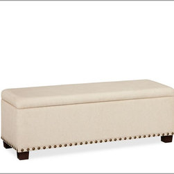 Raleigh Upholstered Storage Bench With Nailhead - This storage bench is perfect for toys, linens or even clothes that you only periodically wear. The nailheads add the perfect touch.