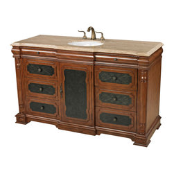 Sterling Industries - Walnut Tone Single Vanity Unit in Antique Brown and Cream Marble - This unique and sophisticated country western style ormonde walnut tone single vanity by Sterling is beautifully finished in an antique walnut brown with contrasting cream marble counter with a center set porcelain basin and 5.75 inch high two handled antique brass faucet with separate taps. Metal panels in the drawer fronts and cabinet door are hand-rubbed with decorative highlights. Eight drawers provide plenty of storage for bathroom necessities and a center cabinet for stacked towels and matching hardware and knobs match faucet. Vanity is 59 inches wide and 22 inches deep and 36 inches tall.