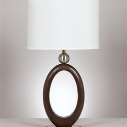 Signature Design by Ashley - Contemporary Wooden Table Lamp - Set of 2 - Includes 2 lamps.  A dark brown wood tone finished with brushed nickel accents table lamp topped with a oval drum shade and features a 3-way switch.. Color: Black - Silver. Material: Wood. 16 in. L x 11 in. W x 30 in. H (20.33 lbs)