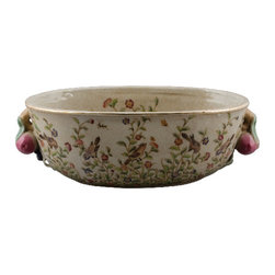 Oriental Danny - Oval Porcelain Basin Planter - Ruby red pomegranates make up the colorful handles of this handmade, hand-painted porcelain basin. Birds balance on delicate branches brimming with blooms that reach up the sides inside and out. Use it as a centerpiece for displaying your fresh or dried flowers, or to contain your bountiful fruit arrangement.