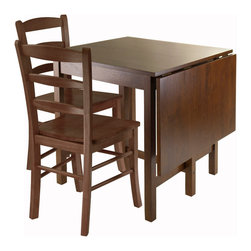 "Winsome Wood - Winsome Wood Lynden 3-Piece Dining Table With 2 Ladder-Back Chairs - 3 Piece Dining Table w/ 2 Ladder Back Chairs belongs to Lynden Collection by Winsome Wood This set comes with Drop Leaf table and 2 Ladder Back Chairs. Lynden Drop Leaf Dining Table is functional and space saving perfect for kitchen or small area. Daily use table top surface is 29.92"" square. For extra space, this table includes a Drop Leaf with surface area of 17.95'W x 29.92""D. Fully Expand table surface is 47.87""W x 29.92""D x 29.53""H. Slide out leg to prop up drop leaf. The set includes two ladder back chairs with overall size of 16.60""W x 20.50""D x 34.70""H. Seat Height is 18"". Seat width is 16.60"". Chair weight limit is 220 Lbs. Both Table and Chairs are contructed from solid wood in Antique Walnut Finish. Assembly Required. Dining Table (1), Dining Chair (2)"