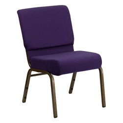 "Flash Furniture - Hercules Series 21"" Extra Wide Royal Purple Fabric Stacking Church Chair - This Hercules Series Church Chair will add elegance and class to any Church, Hotel, Banquet Room or Conference setting. If you are looking for a chair with comfort and style that is easy to move and stores away with ease, then look no further. This built to last chair has a 16-gauge steel frame that has been tested to hold 800 lbs. This church chair features double support bracing, ganging clamps, a cushion that graduates to a 5 in.  thick waterfall edge and plastic floor glides to protect non-carpeted floors. Our church chair is manufactured by one of the most reputable stack chair manufacturers in the industry, you can be assured of the quality of this chair offered to you."