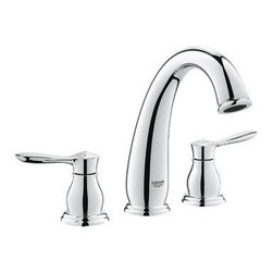 """Grohe - Grohe 25152000 Parkfield 3-H Roman Tub, Starlight Chrome - Grohe 25152000 Parkfield 3-H Roman Tub, Starlight Chrome With its sweeping lines and smooth curves the new Parkfield flows effortlessly like water itself and, like the arching curve of a water fountain the spout guides water to the perfect position for function and comfort. Inspired by nature, the lever has a fluid form that is reminiscent of a leaf, while the protruding underside resembles the shape of water held below a leaf by tension until it finally drops to the ground. The increased organic volume of the lever gives the faucet a more tactile feel that improves usability and set to precisely 7 degrees, it invites interaction while boldly communicating the GROHE brand DNA. Grohe 25152000 Parkfield 3-H Roman Tub, Starlight Chrome Features: GROHE SilkMove Ceramic Cartridge 1/2"""" valves Metal Lever Handle Flexible stainless steel braided hoses connect all components and valves to supply"""