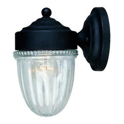 Savoy House - Savoy House KP-5-4900C-31 Exterior 1 Light Outdoor Wall Sconce in Textured Black - Decorate your favorite outdoor spaces to bring a sense of style al fresco.Clear ribbed glassBulb Included: No Bulb Type: Incandescent Collection: Exterior Design Style: Main street Energy Star Compliant: No Extends: 6-3 4 Finish: Textured black Height: 8-1 2 Max Wattage: 60 Number of Lights: 1 Safety Rating: UL, CUL Socket 1 Base: Edison Socket 1 Max Wattage: 60 Style: Functional Suggested Room Fit: Outdoor Voltage: 120 Weight: 3 Width: 5