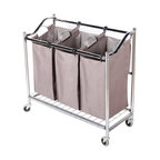 StorageIdeas - StorageIdeas®3-Section Heavy Duty Laundry Hamper Sorter with Coating Frame - Features: