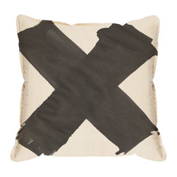 """X Pillow Cover, Black - The X pillow cover in black is understated and industrial. No need to overcomplicate it, because frankly sometimes less is more. The fabric backing is natural, has a concealed zipper and a .5"""" stitched edge. Made from 100% cotton linen blend fabric."""