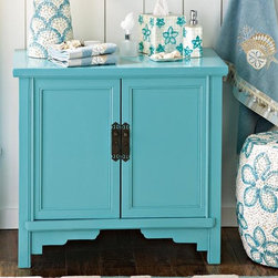 """Seafoam Cabinet - Every bathroom could use more counter space and closed storage. A cottage cabinet painted perky aqua solves space problems with easy charm. Iron handles are a striking design element. Elm/MDF. 28""""h x 30.5""""w x 20""""d."""