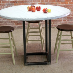 Round Farm Table Steel Base - http://www.ecustomfinishes.com