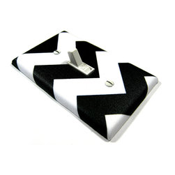 Light Switch Cover, White and Black Chevron by Modern Switch - This light switch cover is an easy way to add fun to a space.