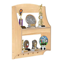 Guidecraft - Guidecraft Expressions Natural Trophy Rack - G87205 - Shop for Childrens Bookcases from Hayneedle.com! All-star achievements call for an all-star trophy rack like the Guidecraft Expressions Natural Trophy Rack. Perfect for everything from sports to scouts this trophy rack is made of wood with a natural finish. Two shelves provide space for trophies while below five peg hooks create a cool spot for ribbons. Wall-mount installation hardware comes included and the trophy rack is safety tested for ages three and older.About GuidecraftGuidecraft was founded in 1964 in a small woodshop producing 10 items. Today Guidecraft's line includes over 160 educational toys and furnishings. The company's size has changed but their mission remains the same; stay true to the tradition of smart beautifully crafted wood products which allow children's minds and imaginations room to truly wonder and grow.Guidecraft plans to continue far into the future with what they do best while always giving their loyal customers what they have come to expect: expert quality excellent service and an ever-growing collection of creativity-inspiring products for children.