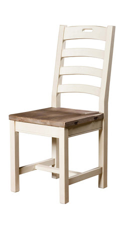 Four Hands - Solid Reclaimed Wood Ladderback Side Chair - High-quality craftsmanship is obvious in this ladderback dining chair. The seat is thick wood finished in ash. The ladderback has four rungs with the top having a hand hold for easy movement. Squared frame with H-stretcher on legs for added durability. Solid wood construction is either recycled or reclaimed so you can feel ecologically responsible about this purchase. No trees were harmed in the making of this dining chair! And each one is finished by hand.