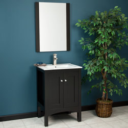 """24"""" Hallin Vanity with Mirror - Featuring a White counter top drilled for a single-hole faucet, the 24"""" Hallin Vanity will be a lasting addition to your small bathroom."""