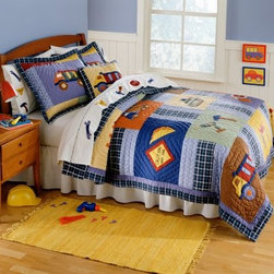Pem America Construction Quilt Set - The Pem America Construction Quilt Set has everything your little construction worker needs for his big dreams. Dump trucks cranes and other big equipment are scattered across this quilt in blues and browns. The reverse side has a blue and white gingham print sure to complement any little boy's room. This durable quilt set is made from 100% cotton fabric with 100% cotton fiber fill and is pre-washed for super-soft comfort. Each piece is machine washable for easy care.Quilt Set Components:Twin: Quilt 1 pillow shamFull/Queen:Quilt 2 pillow shamsDimensions:Twin Quilt: 86L x 68W inchesFull/Queen Quilt: 86L x 86W inchesPillow Shams: 26L x 20W inchesAbout Pem AmericaMakers of high quality handcrafted textiles Pem America Outlet specializes in bedding that enhances your comfort and emphasizes the importance of a good night's rest. Quilts comforters pillows and other items for the bedroom are made with care and craftsmanship by Pem America. Their products cover a wide range of materials styles colors and designs all made with long-lasting quality construction and soft long-wearing materials. Details like fine stitching embroidery and crochet decorations and reinforced seaming make Pem America bedding comfortable and just right for you and your family.