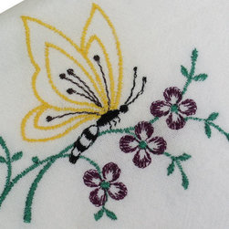 Butterfly Flour Sack Dish Towel - The flour sack dish towel is 100% white cotton. The actual size 28 X 29 inches. The corner has custom embroidered butterfly and flowers design.