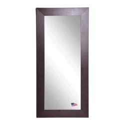 Rayne Mirrors - American Made Wide Brown Leather Full Length Mirror - This warm, contemporary leather tall mirror makes a wonderful home decor accent. This design features a rectangle frame with a dark brown leather finish. This beveled glass adds a sophisticated touch.  Rayne's American Made standard of quality includes; metal reinforced frame corner  support, both vertical and horizontal hanging hardware installed and a manufacturers warranty.