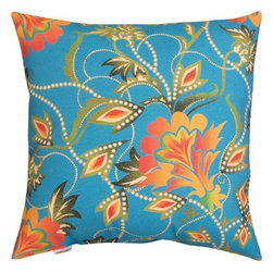 Manual - Pair of Bright Multicolor Floral Print Indoor / Outdoor Throw Pillows - This pair of 18 inch by 18 inch woven throw pillows adds a wonderful accent to your home or patio. The pillows have (No Suggestions) weatherproof exteriors, that resist both moisture and fading. The front and back of the pillows have the same print, a multicolor floral print against a bright blue background. They have 100% polyester stuffing. These pillows are crafted with pride in the Blue Ridge Mountains of North Carolina, and add a quality accent to your home. They make great gifts for flower lovers.