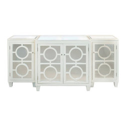 "Worlds Away - Worlds Away Ava White Buffet - Revisiting the glitz and glam of Hollywood Regency style, Worlds Away pairs geometric wood cut-outs with mirror for a striking modern look. Ava brings a hint of drama, easily repurposed from a buffet for the dining room to a console in the living space. 79""W x 22""D x 35""H; Solid hardwoods; White lacquer finish; Mirror drawer fronts and inset, beveled top; 3 separate pieces; Fixed shelf inside center and both side cabinets"