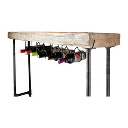 """Urban Wood Goods - Modern Industry Wine Table and Rack - Standard, 84"""" x 11.5"""" - Our Modern Industry console table and Wine bar is the perfect entertainment piece for displaying and serving wine, cocktails, and apps. Use it in your kitchen, dining room, or behind a couch. This entertaining table is made of a single slab of century old wood from a deconstructed barn or factory in the Midwestern USA."""