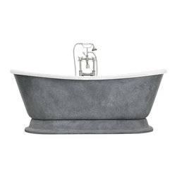 "The Tub Studio - Olympia' CoreAcryl Acrylic Tub Package with Weathered Zinc Finish Exterior, 73""l - Product Details"