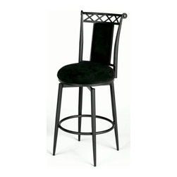 Chintaly - Memory Return Swivel Bar Stool with Upholster - Add an elegant touch to your bar or pub table with this classic swivel-seat bar stool.  Bold and dramatic in all black, the sturdy metal frame features gracefully tapered legs and a classic scroll back design.  Luxurious microfiber upholstery is durable and easy to clean, and the padded back panel makes this design extra comfy. Black micro-fiber upholstery. No assembly required. Seat: 30 in. H
