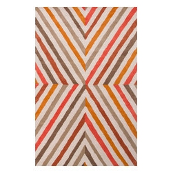 Jaipur Rugs - Hand-Tufted Geometric Pattern Wool Red/Orange Area Rug, 5' x 8' - En Casa is the design collection of Cuban born, Queens, NY raised painter and surface designer, Luli Sanchez. This collection is based off of her painterly works of art that capture an organic and moody yet optimistic spirit. Her hand drawn florals and geometrics were truly inspiring for this Hand Tufted collection.