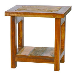 Mountain Woods Furniture - Rustic Reclaimed Wood End Table Natural Barnwood - Rustic  End  Tables          A  beautiful  reclaimed  wood  table  crafted  from  natural  barnwood,  this  is  a  rustic  end  table  with  all  of  the  colors  and  textures  you'll  find  in  the  sun-drenched  Wyoming  plains.  Beautifully  crafted  and  made  in  the  United  States,  these  rustic  tables  blend  beautifully  into  your  decor  because  the  natural  wood  makes  the  perfect  neutral  showpiece  that  won't  compete  with  other  decor,  yet  has  a  style  and  class  all  its  own.                  Rustic  end  table  dimensions:  24  wide  x  21  long  x  24  high              Made  in  USA              Rugged,  weathered  rustic  wood              Eco-friendly  reclaimed  materials              Lifetime  warranty              Free  curbside  delivery  within  contiguous  48  states              Allow  4-6  weeks  for  shipping                This  end  table  is  also  available  with  a  drawer.          Click  here  to  view  the  entire  Wyoming  Collection  of  rustic  reclaimed  wood  furniture.