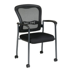 Office Star - Office Star Titanium Finish Visitors Chair With Arms and Casters - Titanium Finish Visitors Chair with Arms, Casters and Breathable ProGrid Back with Built-in Lumbar Support. Black Fabric Padded Seat. Sturdy Titanium Finish Arms and Frame. Stackable (Can also be stacked with 84510) What's included: Office Chair (1).