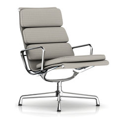"""Charles & Ray Eames - Eames Soft Pad Lounge Chair, Swivel Base, Fabric - Herman Miller Eames Soft Pad Lounge Chair  Swivel Base, 3-Cushion Backrest, Fabric Upholstery  designed by Charles and Ray Eames      At A Glance:   The Eames Soft Pad Lounge Chair is one luxurious lounger. With a lightweight aluminum frame and 2""""-thick upholstered cushions the Soft Pad Lounge Chair is designed for rest and relaxation. The 1/2"""" glides let you safely use this lounge chair on hard floors and carpet while the 5-star base provides support, stability and style. The lounge chair's sleek base contrasts with the fabric upholstery, creating a piece that is as beautiful as it is comfortable. The Eames Soft Pad Lounge Chair is available in a variety of beautiful fabrics that look and feel great.      This lounge chair was made just for the home. While it has uses in the office environment, Charles and Ray wanted to get away from the strictly corporate tone of the executive and ma"""