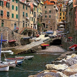 Magic Murals - Riomaggiore Harbor Italy Wallpaper Wall Mural - Self-Adhesive - Multiple Sizes - - Riomaggiore Harbor Italy Wall Mural
