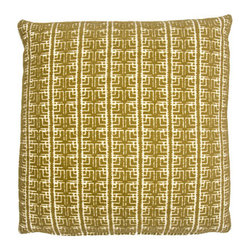 Designer Fluff - Gowanus Pillow, 20x20 - Pioneer your indoor or outdoor living space with this avocado green throw pillow reminiscent of prairie-style architecture. The small-scaled geometric motif quietly enhances your home's natural beauty.