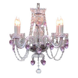 """The Gallery - Swarovski crystalrimmed chandelier - Crystal chandelier Lighting with Pink Cry - This beautiful chandelier is trimmed with Sprectra crystal reliable crystal by Swarovski. Swarovski is the world's leading manufacturer of high quality crystal. Sprectra crystal Swarovski undergoes stringent quality control and offers the best crystal uniformity of sparkle, light reflection and Sprectral colors. *dressed with PINK CrystalEARTS* A Great European Tradition. Nothing is quite as elegant as the fine crystal chandeliers that gave sparkle to brilliant evenings at palaces and manor houses across Europe. This beautiful crystal chandelier is decorated with 100% crystal that captures and reflects the light of the candle bulbs, each resting in a scalloped bobache. The timeless elegance of this chandelier is sure to lend a special atmosphere in every home. Please note this item requires assembly.SIZE: H 17"""" X W 17"""" 4 LIGHTS. assembly required. Lightbulbs not included. THIS ITEM COMES with A SWAG PLUG-IN KIT , 14 FEET OF HANGING CHAIN AND WIRE"""
