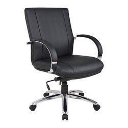 "Boss - Aaria Elektra Mid Back Executive Chair - Black Upholstery - Contemporary design. Ultra soft and breathable CaressoftPlus upholstery. Metal arms with padded arm rests. Heavy duty spring tilt mechanism. 27"" metal base."
