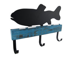Manual - Chalk it to Me Fish Shaped Chalkboard with Wall Hooks - These decorative wall hooks have a fish shaped chalkboard on top of them, and they are perfect to hang near the door to remind your kids to walk the dog, bring lunch to school, or to leave a message for them to have a great day. This piece is made of wood, has 3 metal hooks, and measures 13 1/2 inches long, 9 3/4 inches tall, and 1 3/4 inches deep. It easily mounts to the wall by 2 picture hangers on the back, and 2 pieces of chalk are included.