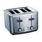 Calphalon - Calphalon Brushed Stainless Steel 4-Slice Toaster - Calphalon 2-slot toaster makes breakfast a snap. The extra-wide slots accommodate bagels,English muffins and even thick slices of artisan breads. The Defrost setting is ideal frozen waffles and toaster pastries.